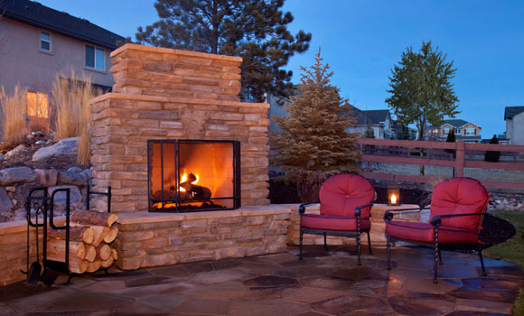 backyard fireplace on patio