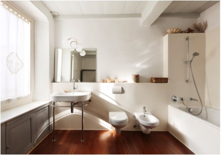 bathroom with hardwood floors